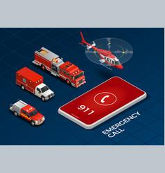emergency service isometric set vector image