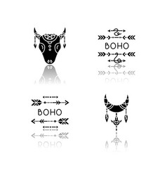 ethnic accessories in boho style drop shadow vector image