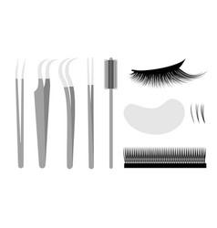 eyelash extension set professional tools tweezers vector image