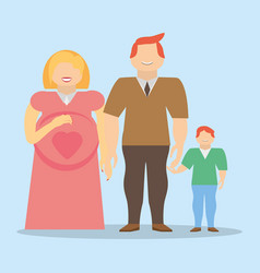 family together pregnancy son smile vector image