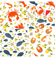 Fish and crab seafood seamless patterns lobster vector