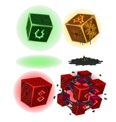 Four color magic cubes with signs isolated vector