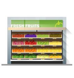 fresh fruits display on shelf in supermarket vector image
