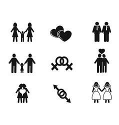 Gay and lesbian icons set vector