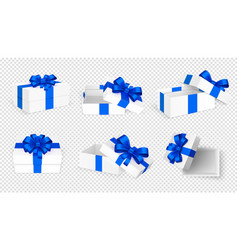 gift boxes white open present empty box with blue vector image
