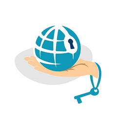 globe in hand with key logo template vector image