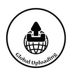 Globe with upload symbol icon vector image