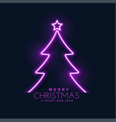 glowing neon christmas tree background vector image