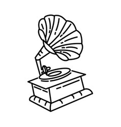 gramophone icon doodle hand drawn or outline icon vector image