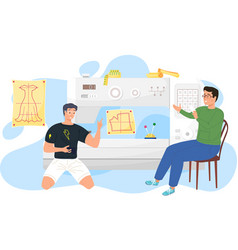 Guys are discussing in tailoring studio work vector