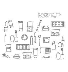 hand drawn makeup set coloring book page vector image