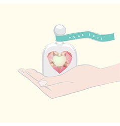 Hand giving the gift of a heart under a glass dome vector