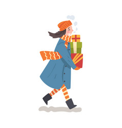 happy girl in winter clothing walking with wrapped vector image