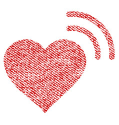 Heart radio signal fabric textured icon vector
