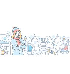 Hello winter - modern line design style vector