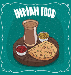 Indian round flatbread with sauces and masala chai vector