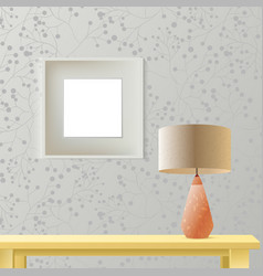 interior room realistic mockup with frame or vector image
