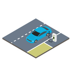 Isometric icon electric car vector