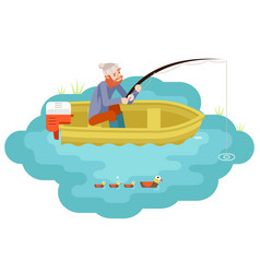 lake fishing adult fisherman with fishing rod boat vector image