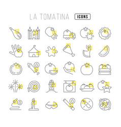 Line icons la tomatina vector