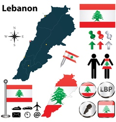 Map of Lebanon vector