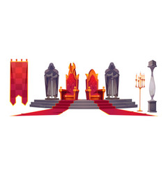 Medieval castle interior with gold royal thrones vector