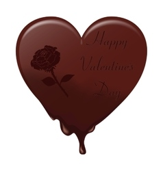 Melting chocolate heart with the inscription vector image