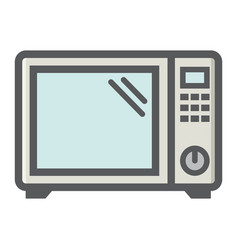 microwave oven colorful line icon household vector image
