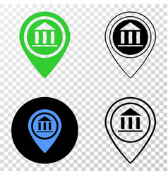 Museum map marker eps icon with contour vector