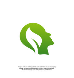 nature brain logo design concept brain mind with vector image