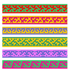 patterns based on khanty-mansi siberian folk vector image