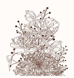 Peonies and chrysanthemums bouquet brown sepia vector
