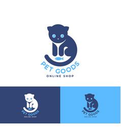 pet goods logo meal toys online shop identity vector image