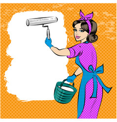 Pop art of house painter vector