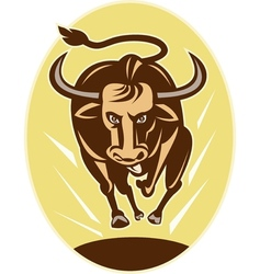 Raging texas longhorn bull charging vector