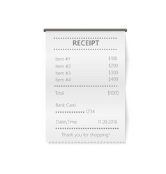 Realistic sales printed receipt mock up vector