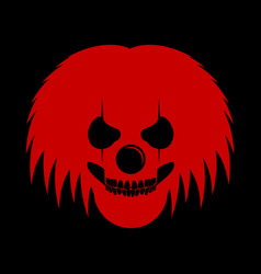 Red clowny messy haired skull head logo symbol vector