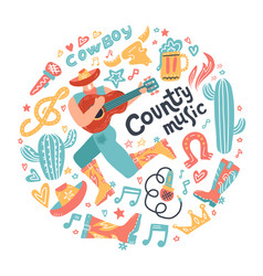 round concept with misician cowboy and country vector image