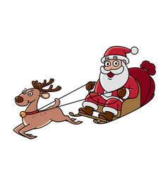 Santa claus on his sleigh harnessed deer vector