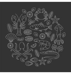 Seafood flat line icons set vector image