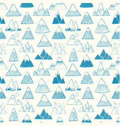 Seamless pattern with blue doodle sketch mountains vector