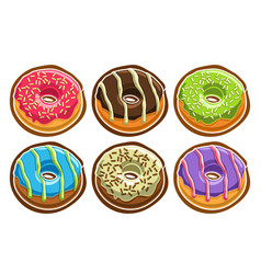 Set assorted donuts vector