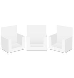 Set cardboard display boxes mockups isolated vector