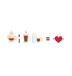 set cartoon coffee cups drinks and vector image
