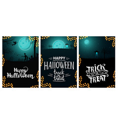 set halloween greeting vertical postcard with vector image
