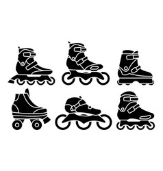 Set inline roller skates icons isolated vector