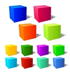 Set of brignt 3d cubes vector image