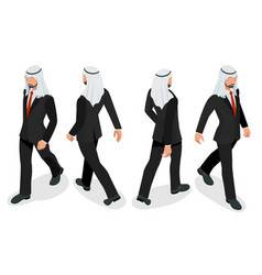 Set of businessman arab man on white background vector