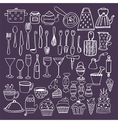 Set of hand drawn kitchen equipments Kitchen vector image