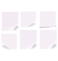 Set of white paper on white background vector image